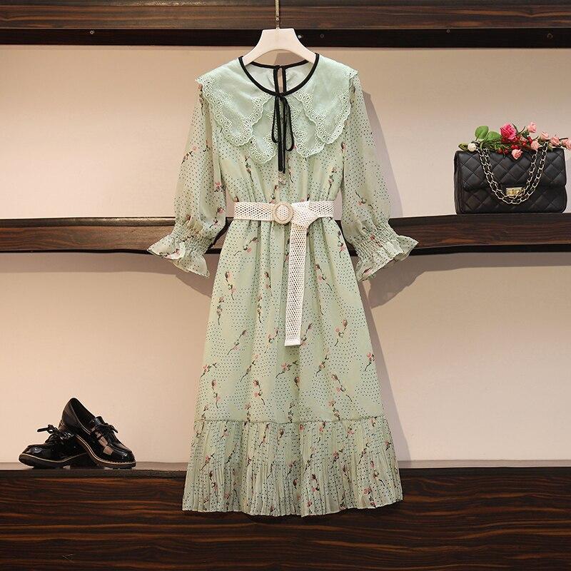HAMALIEL, nueva moda de verano, vestido de gasa para mujer de talla grande, verde, estampado Floral, medio Vestido de manga acampanada, vestido con cinturón de volantes para mujer