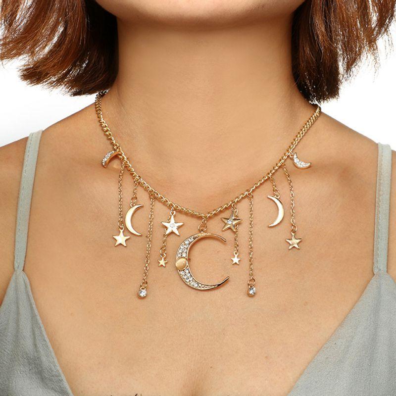 Free Shipping European American Ladies Necklace Alloy Diamonds Stars Moon Tassel Pendant Chain Long Single Layer Necklace