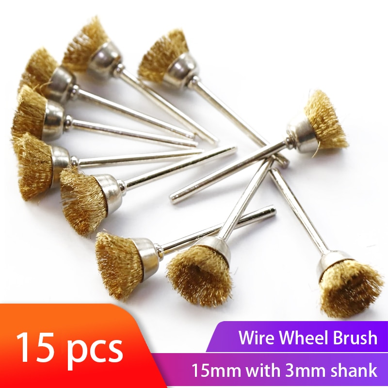 15pcs Wire Polishing Wheel Brush Brass Brush 3.mm Shank Cup Brush For Dremel Rotary Tools Accessories Metal Rust Removal