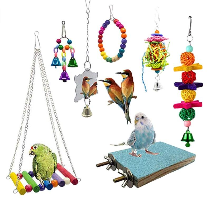 7 unids/set combinación de artículos de pájaro de juguete loro mordedura juguete aves loros de juguete divertido Swing bola campana de pie juguetes de entrenamiento