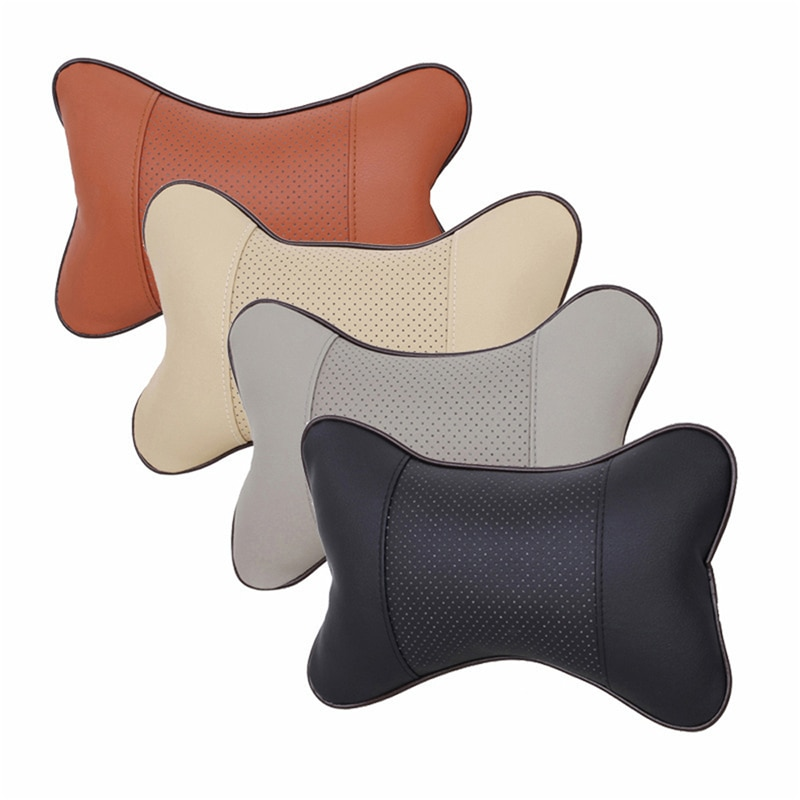 New Durable Superior Quality PVC Leather Breathable Mesh Cushion Headrest Neck Pillow High Health Ca