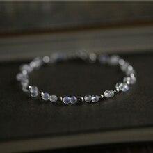 Lily bijoux perles de pierre de lune bleu clair Invisible 925 Bracelet de mode en argent sterling 7 -8 livraison directe