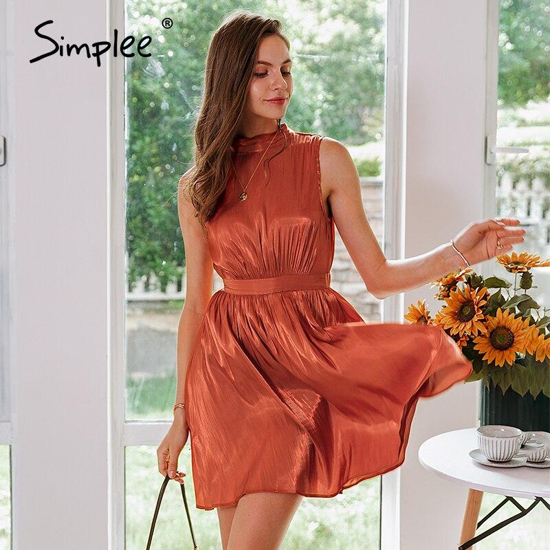 Женское платье без рукавов Simplee, повседневное офисное платье красного цвета без рукавов