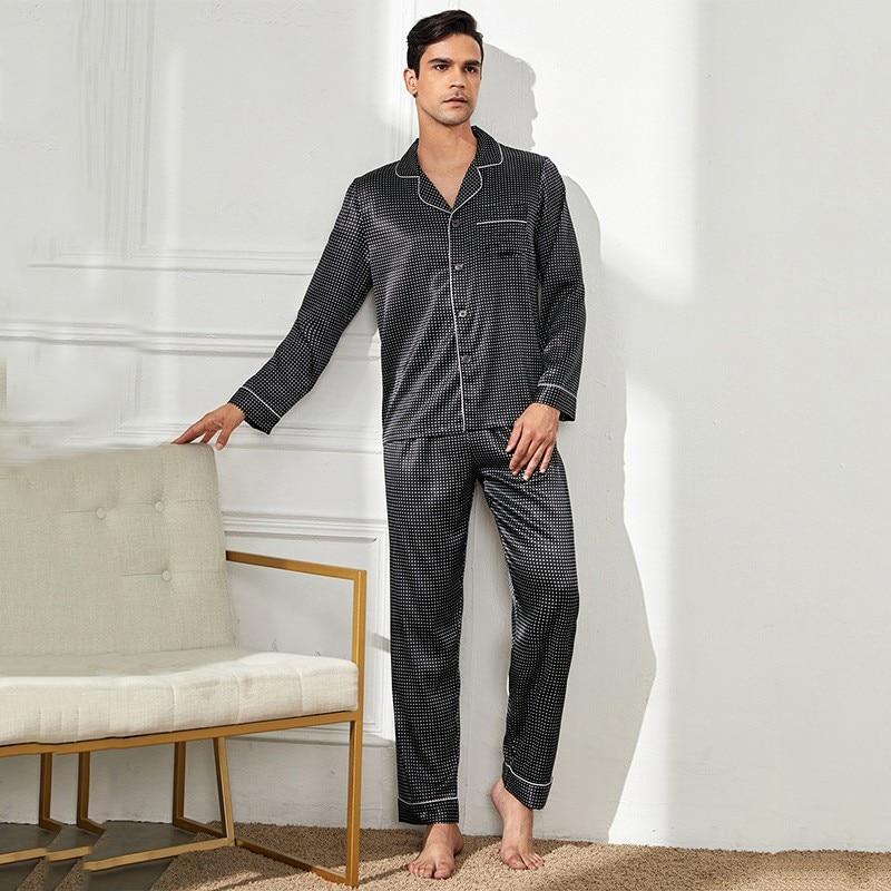 Polka Dot Sexy 2pcs Shirt&pants Satin Pajamas Set Sleepwear Men Nightshirt Home Wear Casual Pyjamas Suit Sleepshirt Nightwear