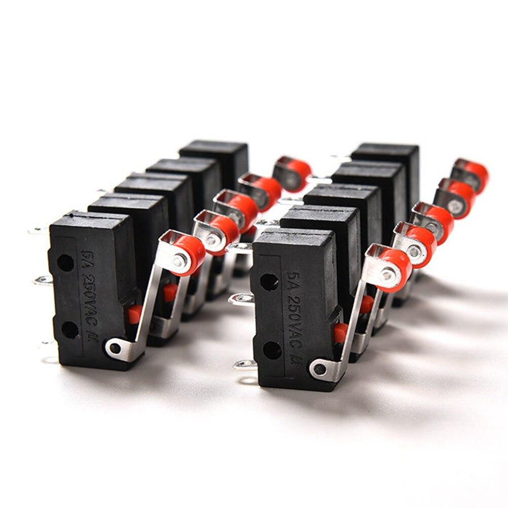 Alavanca momentânea do rolo da dobradiça, micro interruptores 3 pinos pçs/set kw12 10 5a 125 250v spdt 1no 1nc botão de redefinição do mouse
