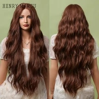 henry margu long wave lace front wig for black women honey rred brown ombre lace frontal synthetic wig heat resistant 28 inch