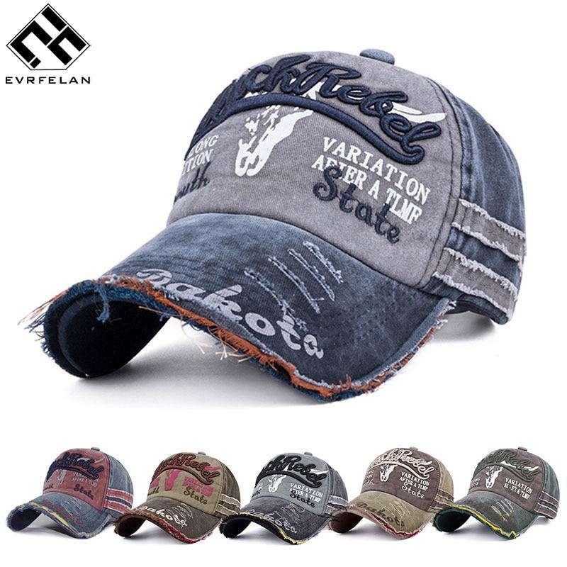 Evrfelan Fashion Demin Baseball Caps Women's Hip Hop Caps Hole Letters Cap for Men Outdoor Dad Cap Adjustable gorras Unisex