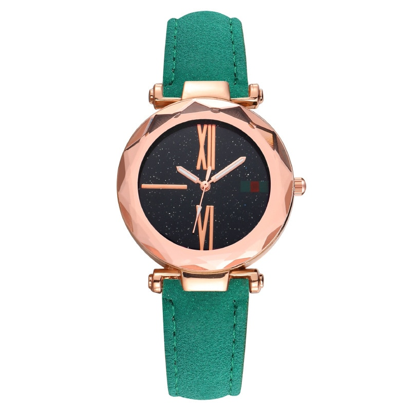 MREURIO Women's Watch Fashion Lucky Style Lacy Diamond-Studded Retro Romen Numerals Leather Band Watch for Women Elegant Watch enlarge