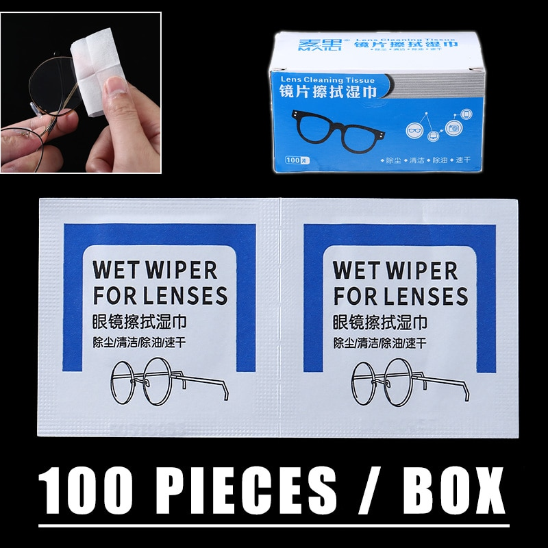 100pcs Glasses Cleaner Wet Wipes Lens Cleaning Paper Disposable Dustproof For Sunglasses Mobile Phon