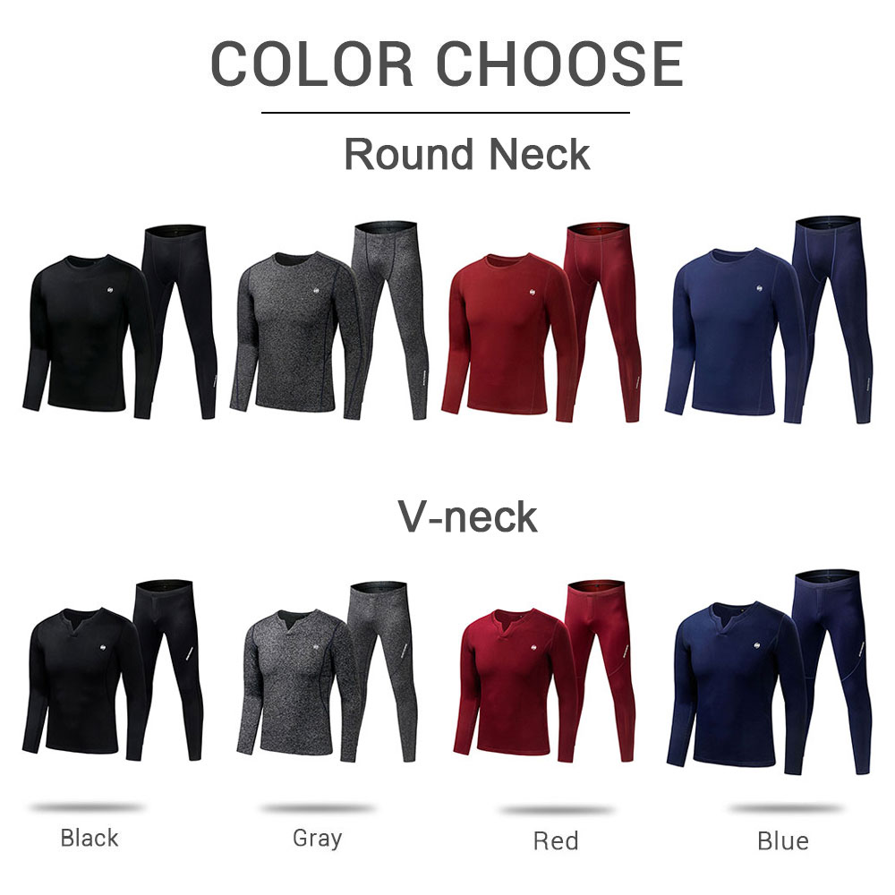 Motorcycle Thermal Underwear Set Men's Motorcycle Skiing Winter Warm Base Layers Tight Round Neck Long Johns Tops & Pants Set enlarge