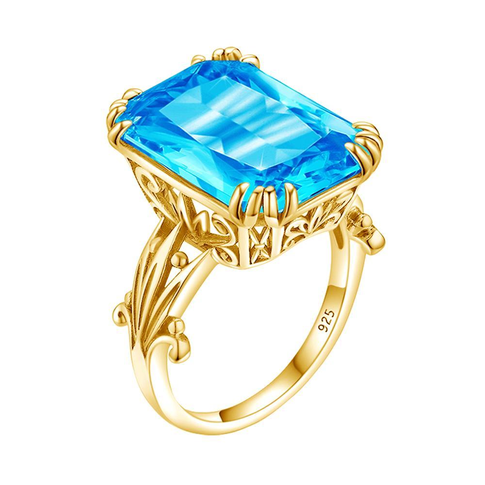 925 anillos de plata esterlina de anillo de Topacio Azul auténtico de Color dorado de 14K para mujer, anillo de compromiso de boda, joyas de piedras preciosas de plata 925