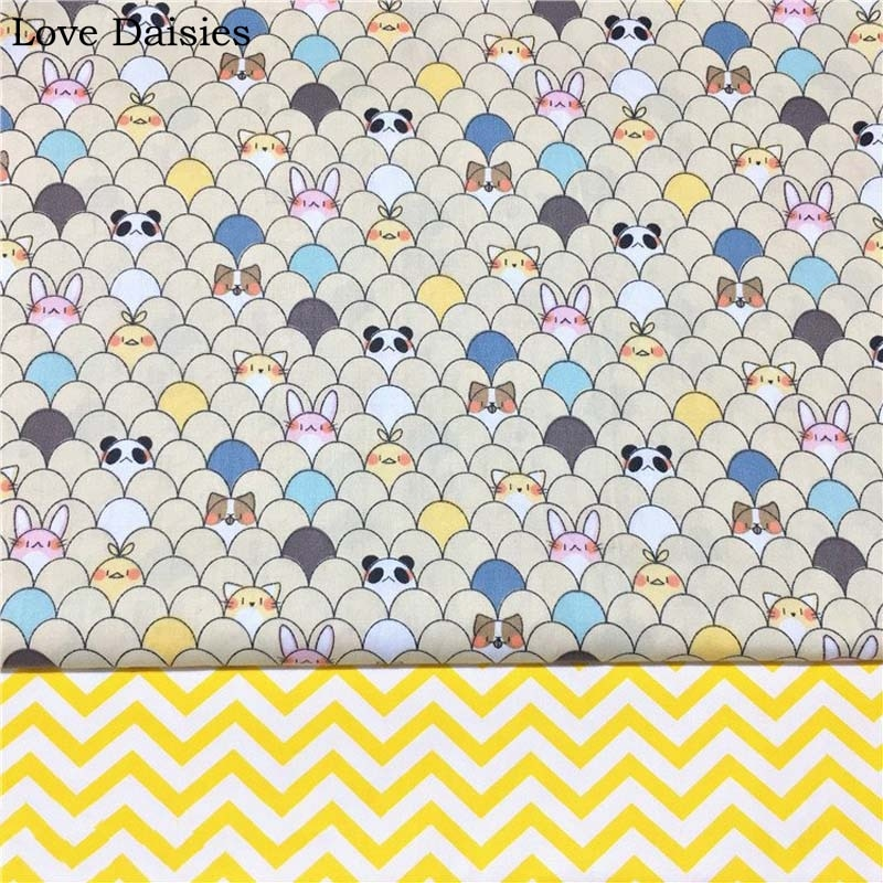 100% Cotton Twill Cloth Cartoon Yellow Chicken Panda Rabbit Chevron fabric for DIY Crib bedding Cushion Dess Handwork Home Decor