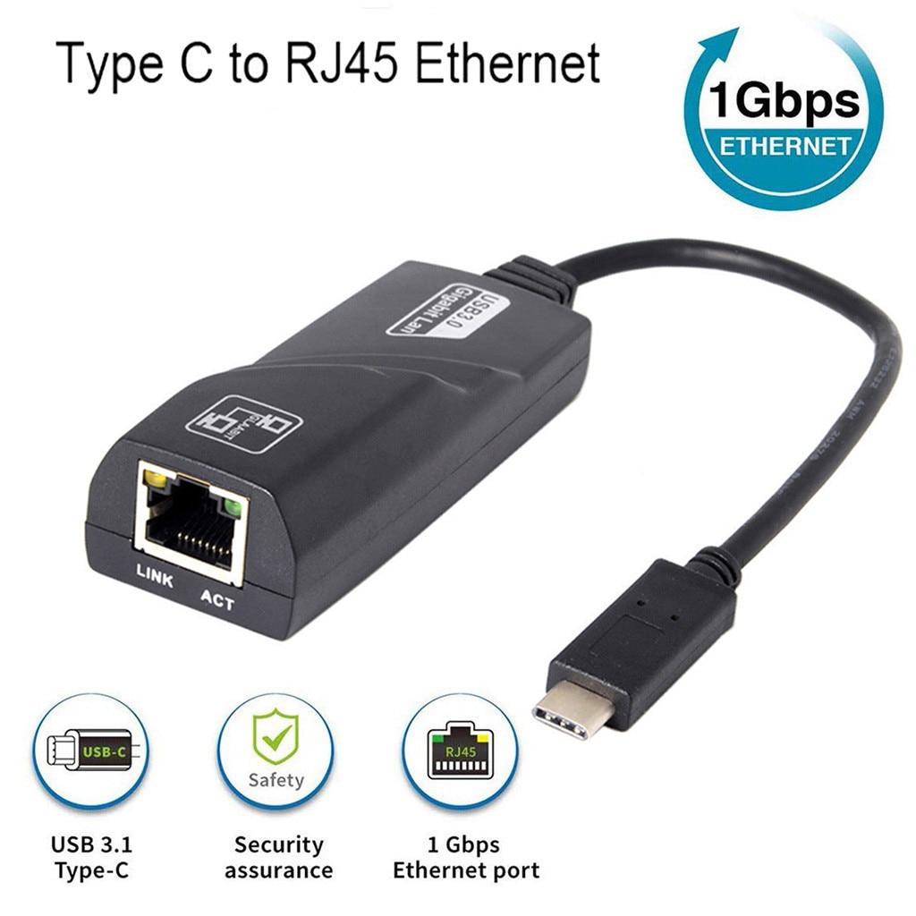 Adaptador de USB-C a Ethernet, USB C a 1Gbps, adaptador Ethernet Thunderbolt 3/tipo-c a RJ45, Gigabit, adaptador de red LAN Ethernet