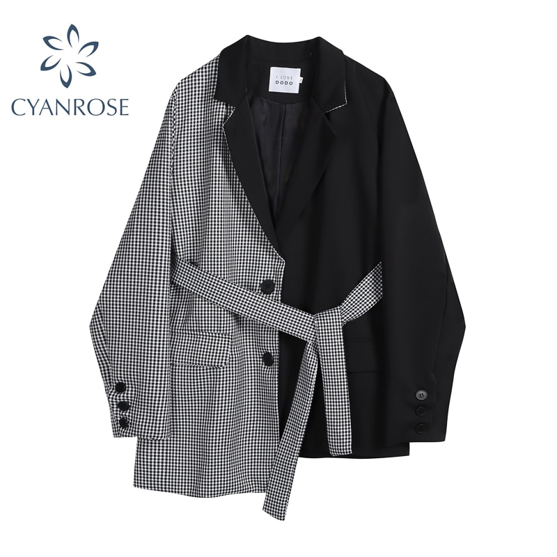 Women Irregular Blazer Coats With Belt 2021 Autumn Korean Plaid Patchwork Streetwear Single-Breasted