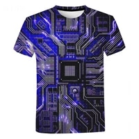 electronic chip 3d print t shirt unisex fashion casual short sleeve oversized t shirt men harajuku streetwear hip hop cool tops