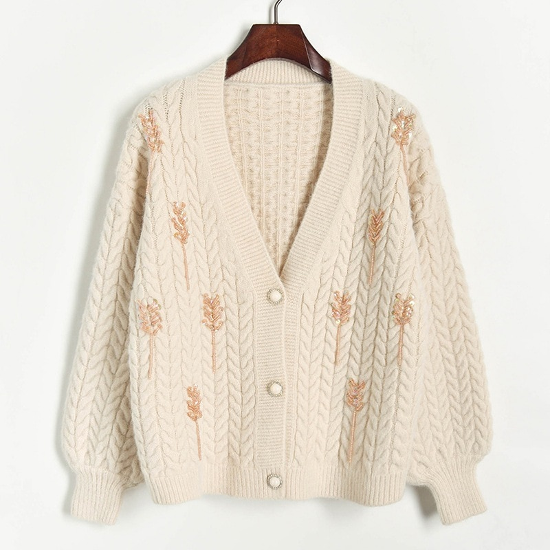 Wheat Spike Knitted Women Cardigan 2019 Autumn Winter V Neck Single Breasted Loose Thick Sweater Coat Female Knitting Cardigan enlarge