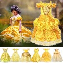 Robe de princesse Belle de fête pour filles   Costumes Cosplay la Belle et la bête, Costumes anniversaire carnaval sans épaules jaunes