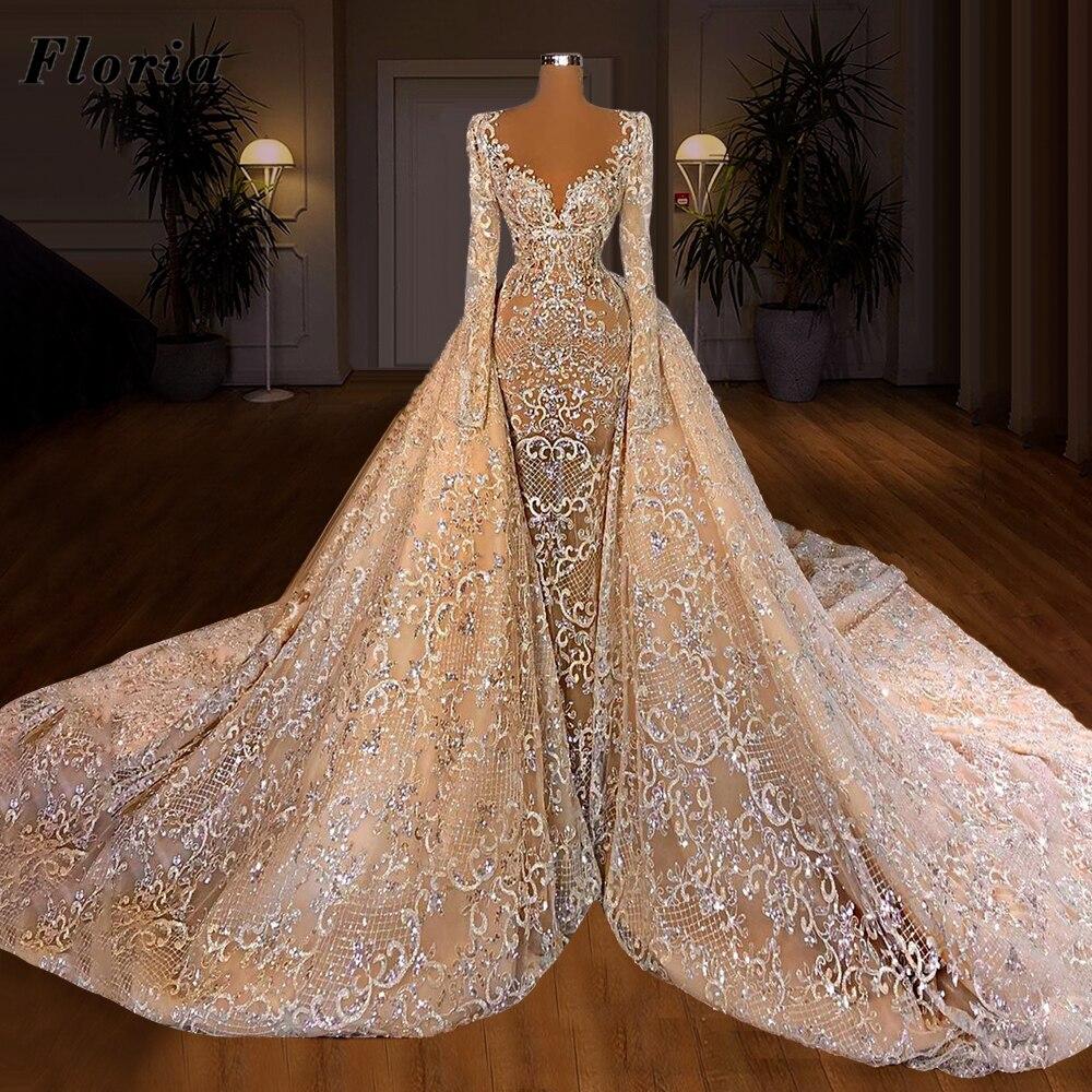 Long Gorgeous Dubai Wedding Dresses Abendkleider Robe De Mariee Bride Dress 2021 Women Saudi Arabic Beaded Crystals Bridal Gowns