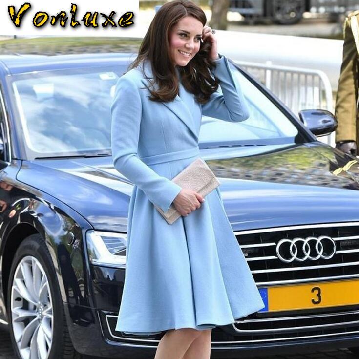 Moda elegante Blazer vestidos señoras Oficina desgaste Kate Middleton princesa azul vestido traje chaqueta ajustada Otoño Invierno mujer 2020