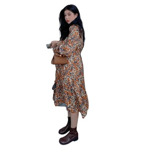 Retro Long Sleeve Dress Loose High Waist Yellow Floral Dress Autumn Large Size Ankle Length Robe Rouge Women's Clothing EF50DW