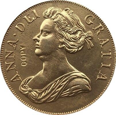 24-K banhado a ouro 1712 Reino unido 1 Guiné-Anne moedas copiar