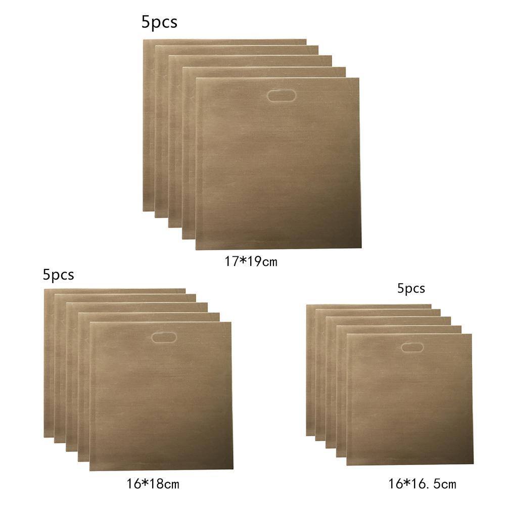 5pcs/set Reusable Toaster Bag Teflon PTFE Non Stick Bread Bag Sandwich Bags Fiberglass Toast Microwave Heating Pastry Tools