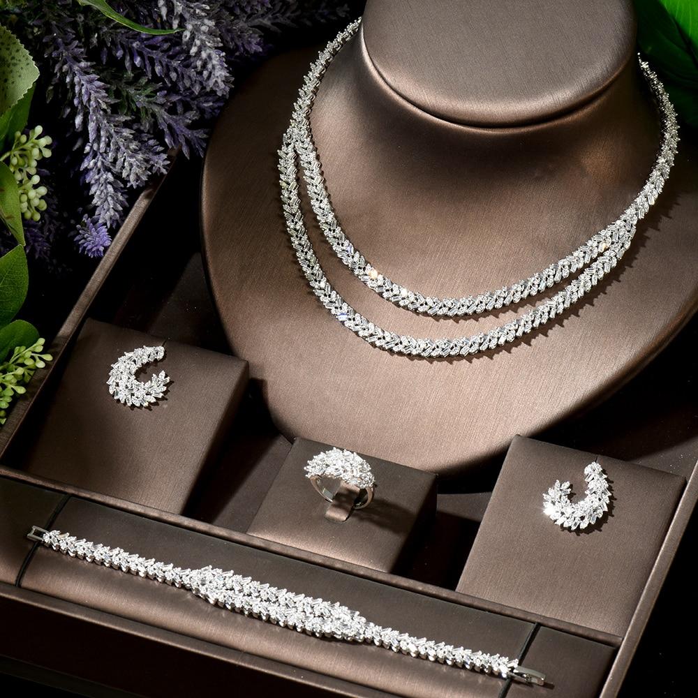HIBRIDE خمر طبقتين المرأة الزفاف قلادة مجموعة هندسية زركون طقم مجوهرات لل زفاف Boucle d oreille N-1899
