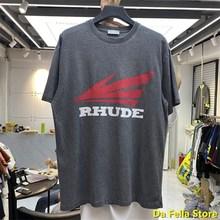 2020 Rhude T-shirt hommes femmes aile rouge Logo impression RHUDE T-shirts Vintage lourd qualité T-shirt surdimensionné Streetwear rétro hauts