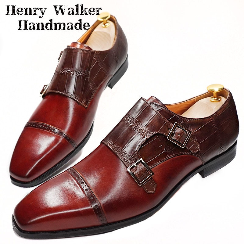 CLASSIC MEN LOAFERS SHOES GENUINE LEATHER DOUBLE MONK STRAP MEN CASUAL SHOES MIXED COLORS POINTED OFFICE WEDDING MEN DRESS SHOE