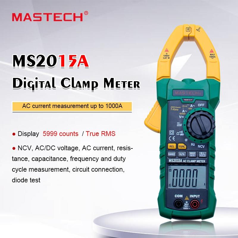 MASTECH MS2015A 1000A AC الحالي المشبك متر AC DC الجهد متر صحيح RMS رقمي متعدد التردد السعة اختبار NCV