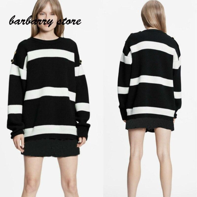 2021 luxury brand stripe metal button printing fashion women's top temperament round neck versatile loose long sleeve Pullover