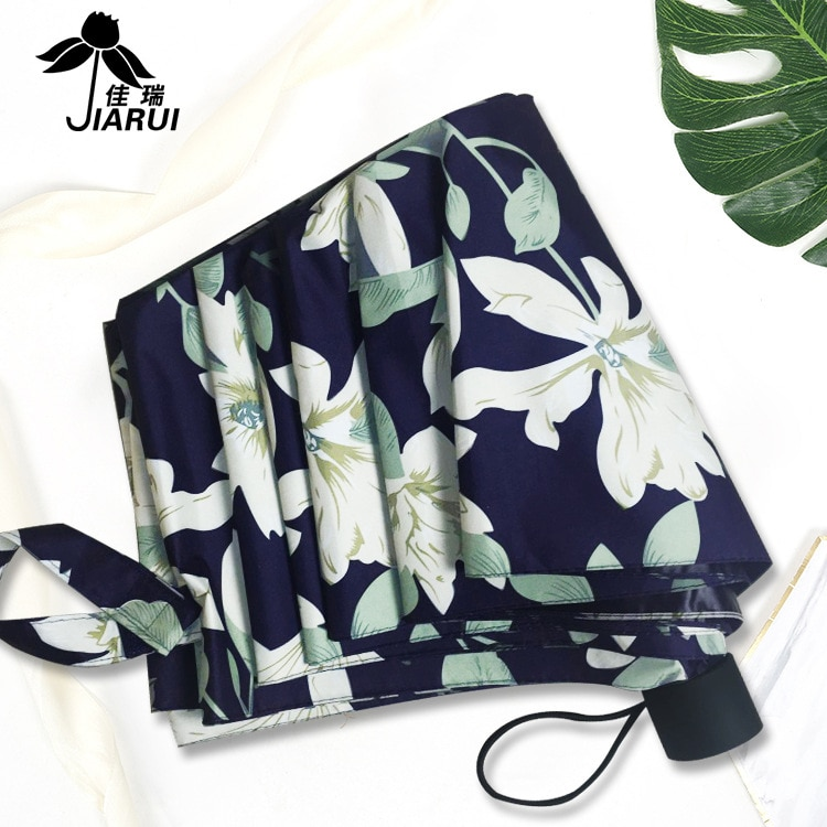 Paraguas de tres pliegues kou daisan vinilo lirio impreso paraguas de puesto actualmente disponible al por mayor logotipo personalizable