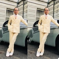 handsome double breasted mens tuxedos slim fit two pieces wedding suits beach prom party business outfit jacketpants