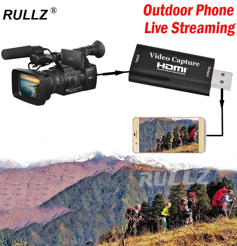 RULLZ, USB 2,0, tarjeta de captura de vídeo HDMI, grabador de juego para cambiar PS4 DVD, grabación de vídeo, ordenador, teléfono Android, caja de Streaming en vivo