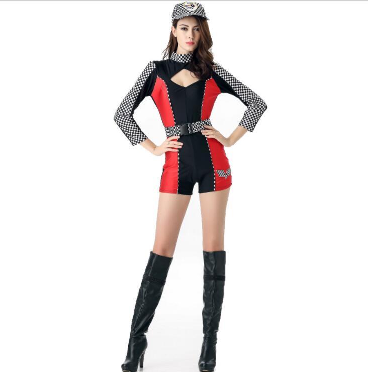 Cosplay disfraz disfraces de halloween para mujeres Racing girl locomotora modelo de coche de manga larga cheerleading night field dance