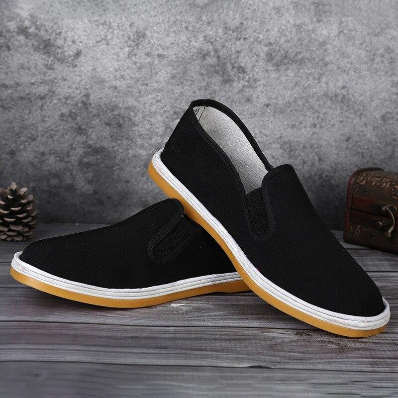 Suela de goma 2020, zapatos de tela hechos a mano, suelas de tela fuertes, zapatos de tela informales de un Pedal, zapatos de tela negros, calzado de tela para hombres
