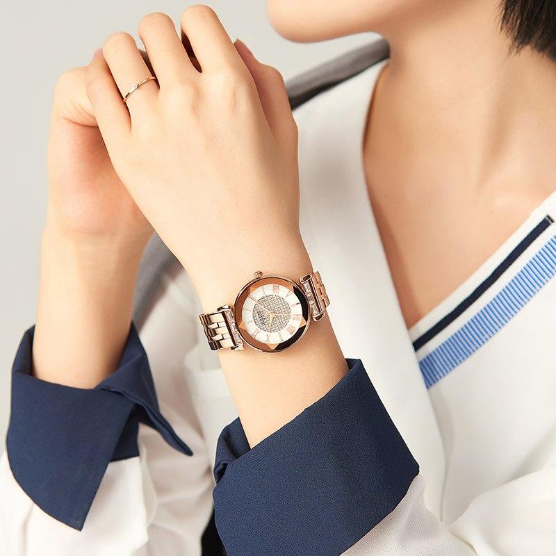 Julius Watch JA-1206 Women's Full Diamond Deco Watch Retro Relojes Stainless Steel Band Japan Quartz Wristwatch enlarge