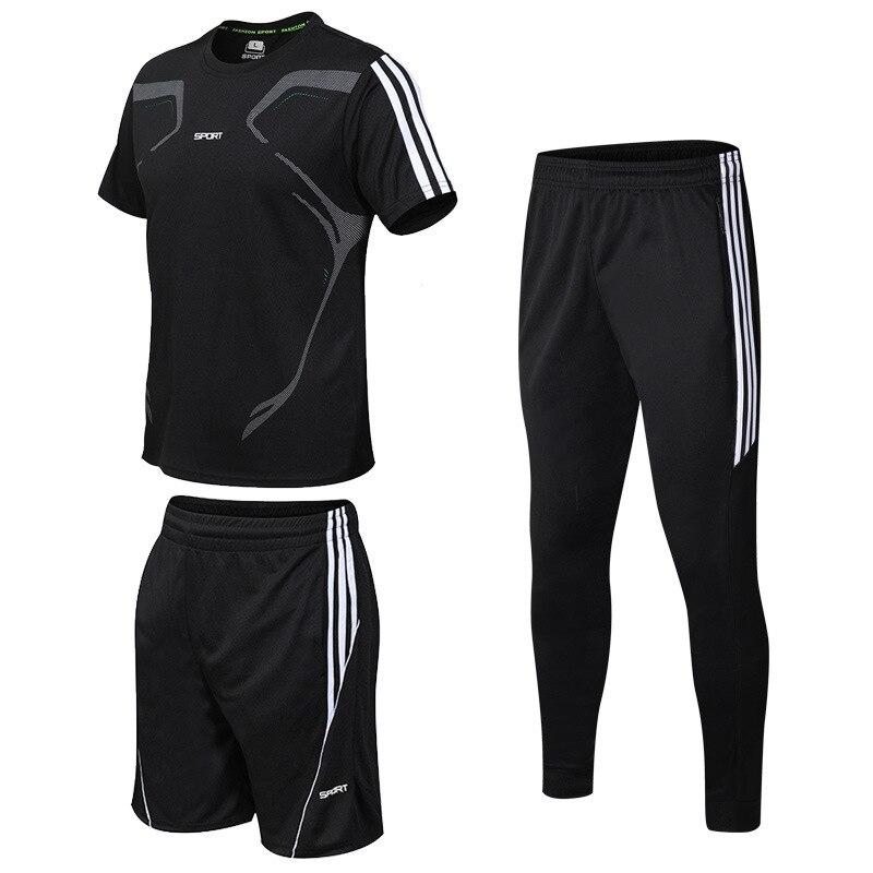 Nueva Camiseta deportiva de tres piezas para hombre, traje para correr, pantalones cortos, pista y campo, ropa deportiva de baloncesto, ropa de fútbol, ropa de fitness