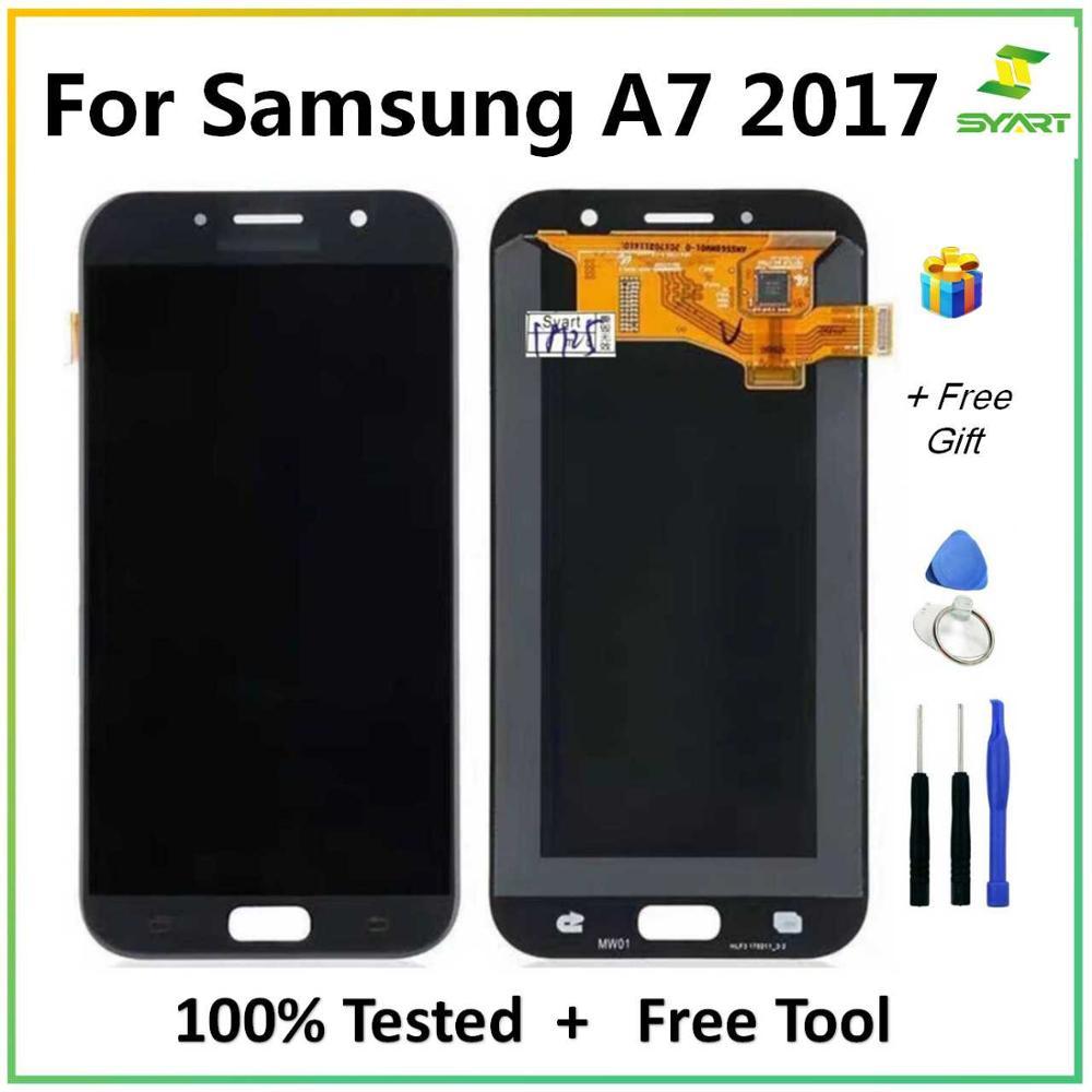 Tft para samsung galaxy a7 2017a720f a720 a720m display touch screen digitador assembléia + ferramentas gratuitas para galaxy a7 2017 tela