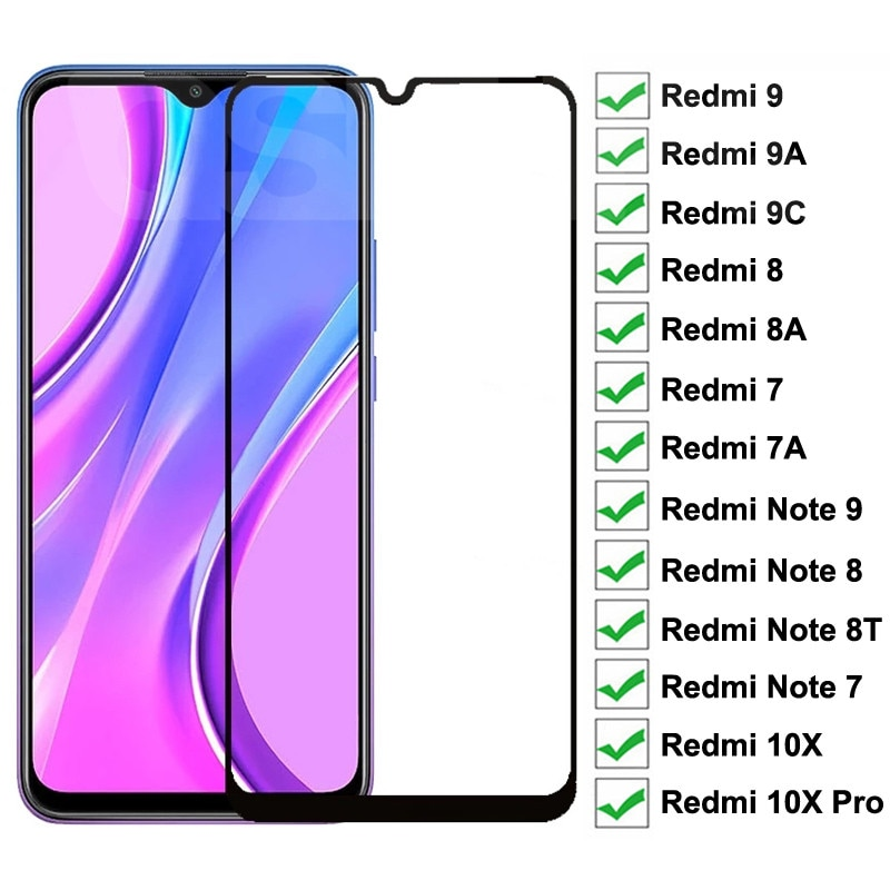 Vidrio protector de pantalla completa 9D para Xiaomi Redmi 9, 9A, 9C, 8, 8A, 7, 7A, 10X, Redmi Note 8, 8T, 7, 9, 9S Pro Max, película de vidrio templado