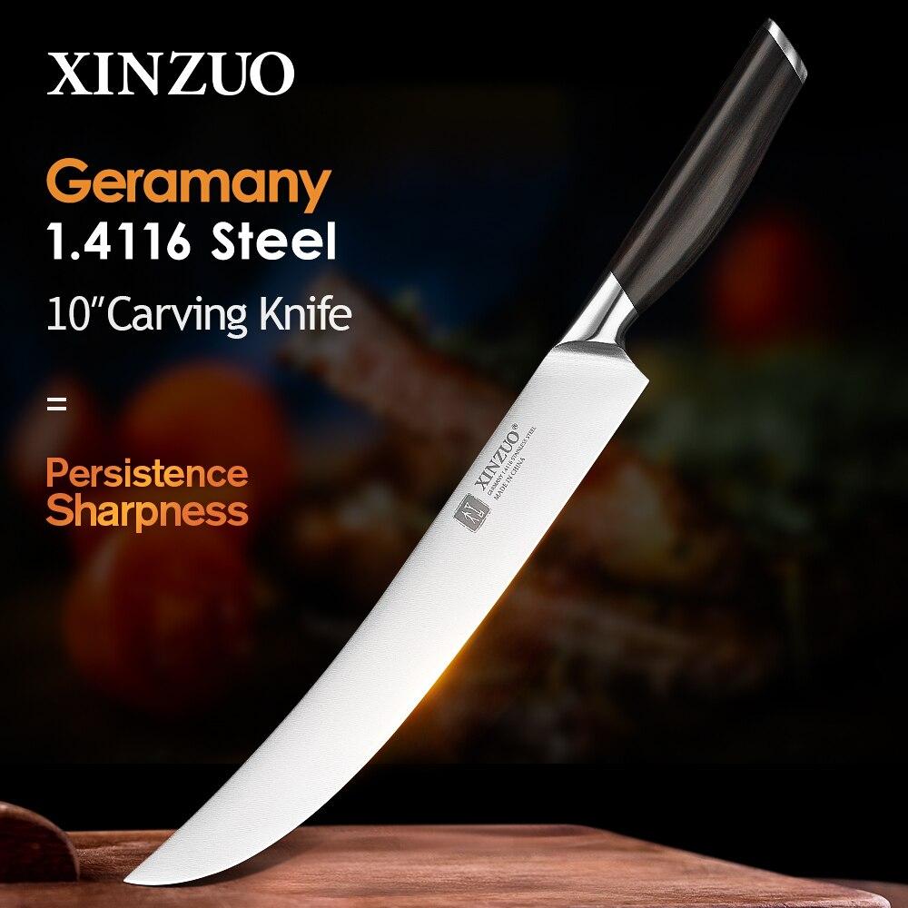 XINZUO Pro-شوكة نحت وسكين نحت ، فولاذ مقاوم للصدأ ألماني 1.4116 ، إكسسوارات مطبخ بمقبض خشبي ، 10 بوصة