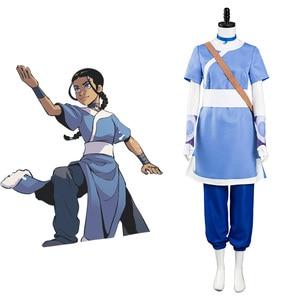 Anime Avatar The Last Airbender Katara Cosplay Costume For Adult Women Halloween Fancy Suit Blue Dress Carnival Wear