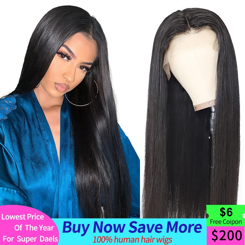 Straight Lace Front Human Hair Wigs Pre plucked HD Transparent Lace Wig With Baby Hair Brazilian Remy Lace Front Wig 13x4 180%