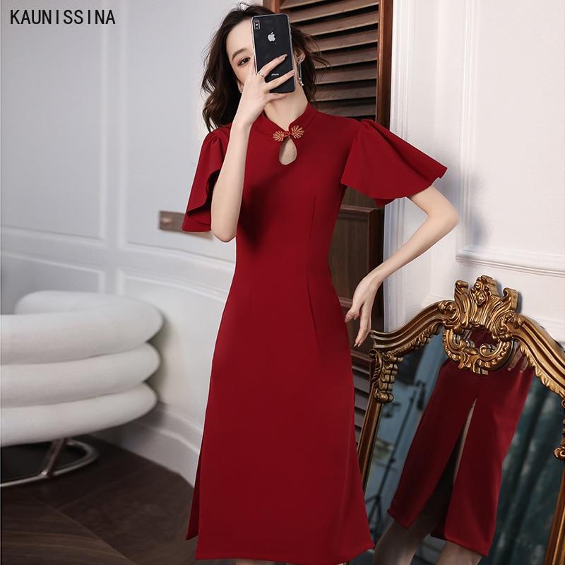 فساتين لحفلات الكوكتيل عتيقة من KAUNIAAIN فستان شيونغسام صيني تقليدي فستان رسمي عتيق بطول الركبة