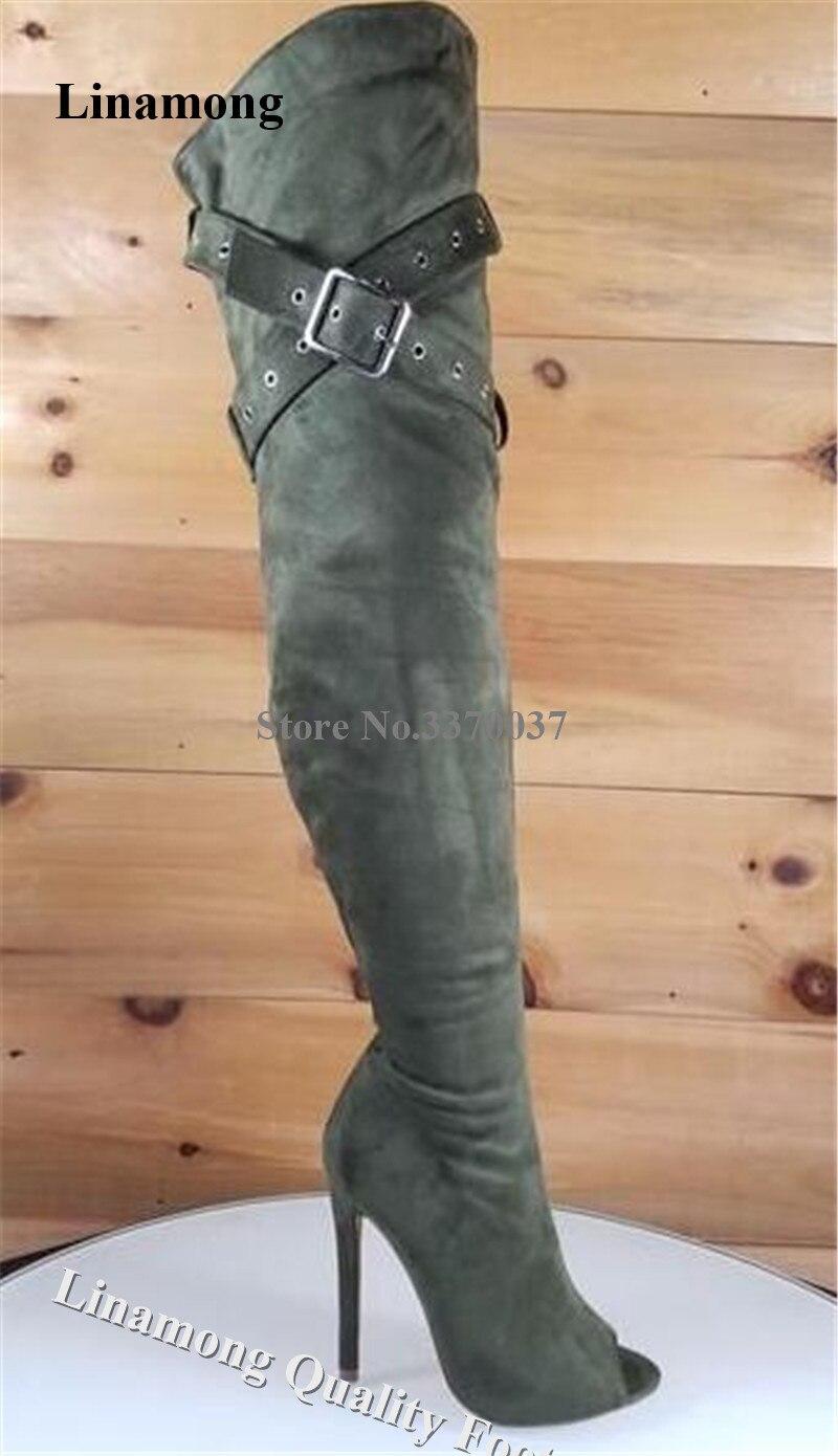 Newest Women Peep Toe Suede Leather Over Knee Stiletto Heel Gladiator Boots Metal Buckles Strap Cross Long High Heel Boots Heels