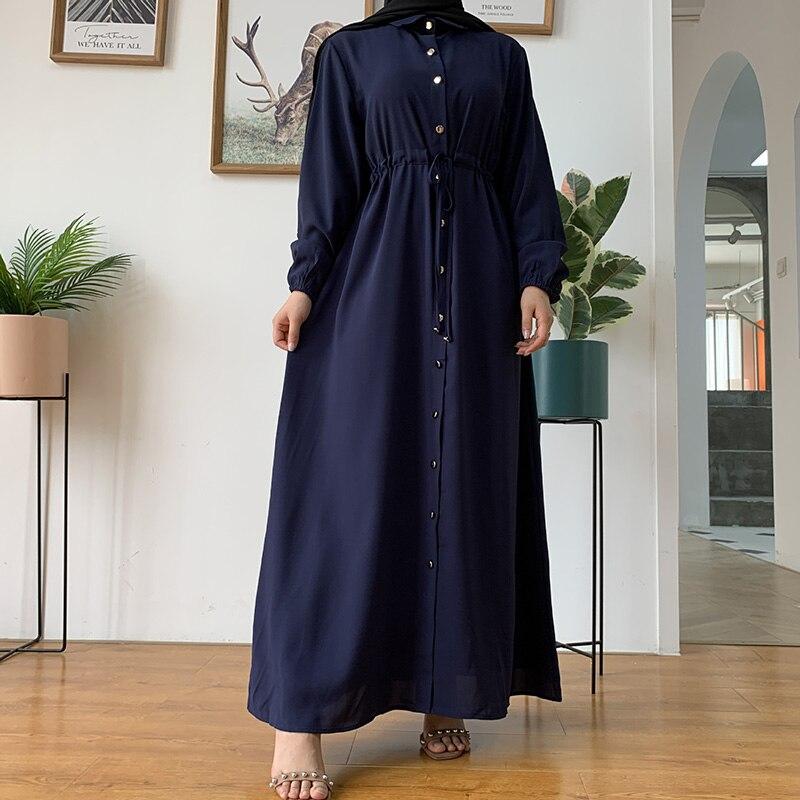 Фото - Модное мусульманское женское длинное платье на пуговицах с поясом длинное платье в американском стиле Рамадан длинное платье абайя исламс... lemaire длинное платье