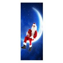 3D Рождественские наклейки на стену, наклейки на дверь, креативный подарок Санта Клауса, украшение для гостиной, спальни, обои # Zer
