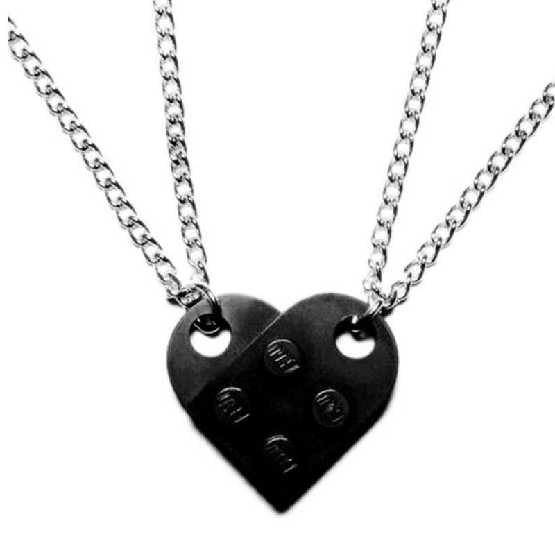 2Pcs Cute Love Heart Brick Pendant Necklace for Couples Friendship Women Men Girl Boy Lego Elements