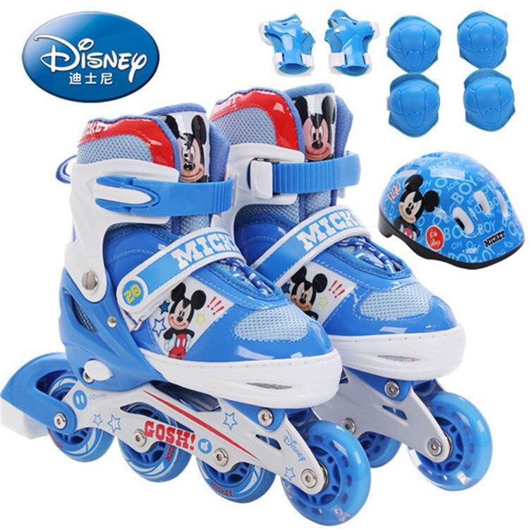 Genuine Disney Skates Children's Beginner Inline Rollers with Flashing Breathable Mesh 8-wheel Student Roller Skates