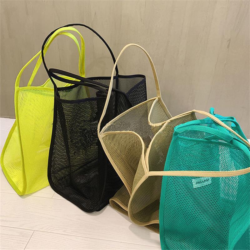 Bolso de malla plegable para mujer, bolso bandolera tejido transparente de gran capacidad, bolso de playa para compras de verano 2020 para mujer, bolso plegable
